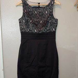 H&M Pencil Career Dress Lace Sleeveless Black